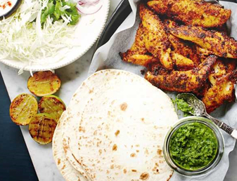 Blackened Fish Fajitas with Coriander Salsa Verde Recipe