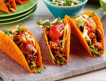 BOLD Nacho Cheese Tacos with Beef and Mushrooms