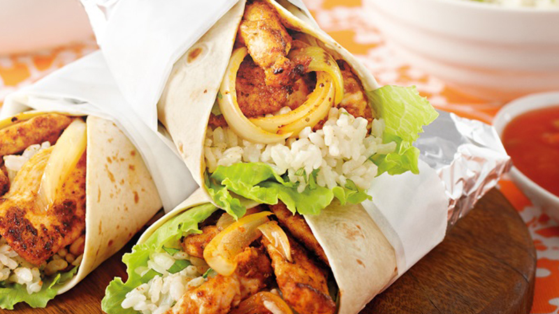 Chicken Burritos with Mexican Rice Recipe