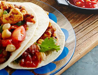 Chicken Soft Tacos with Chorizo & Chickpea Salsa Recipe