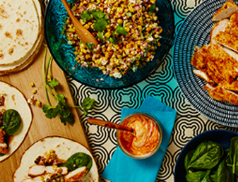 Crispy Chicken Soft Tacos with Charred Corn Salad