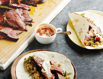 Marinated Butterflied Lamb Fajitas with Quinoa Salad Recipe