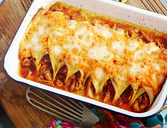 Shredded Chicken, Tomato & Capsicum Enchiladas Recipe