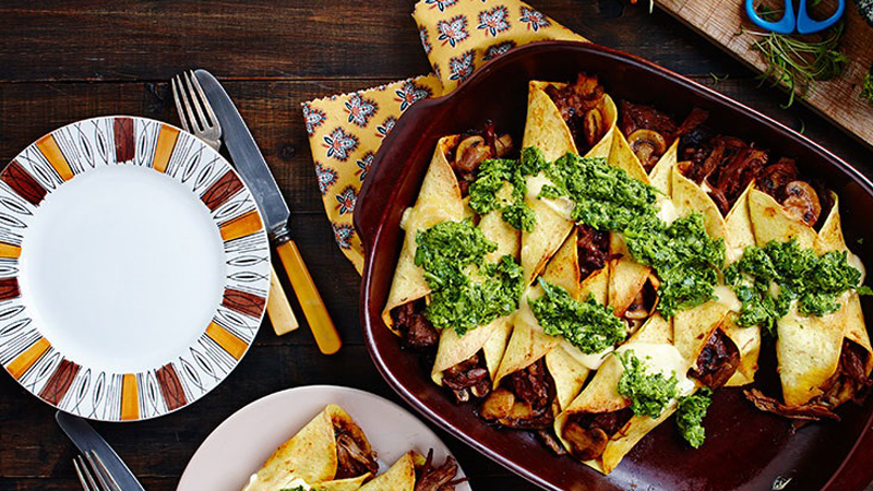 Slow Cooked Lamb Enchiladas with Salsa Verde Recipe