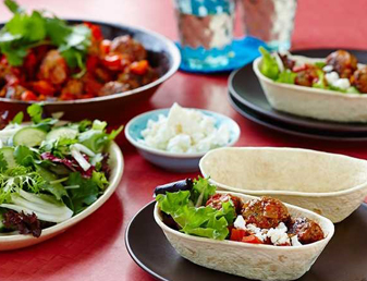 Stand 'n Stuff™ Soft Tacos with Pork Meatballs and Cucumber & Fennel Salad Recipe