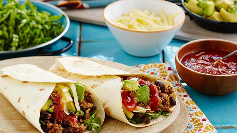 20 Minute Beef and Black Bean Burrito Recipe