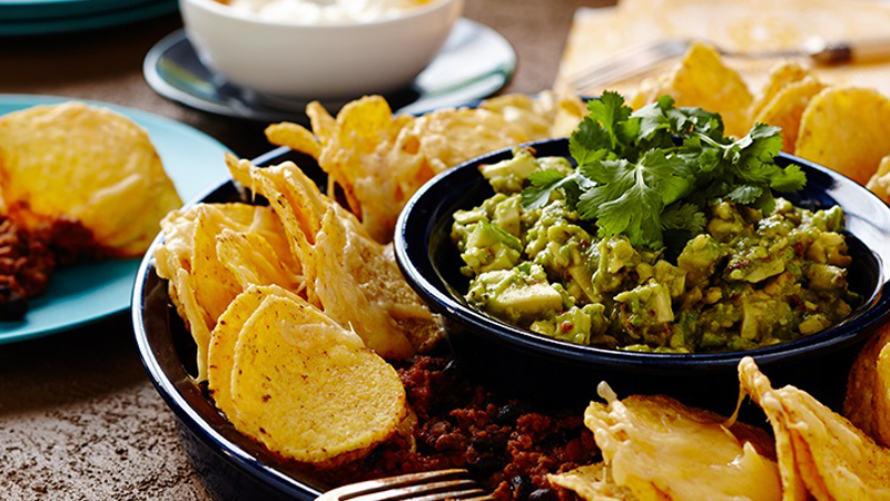 Beef and Black Bean Nachos with Guacamole