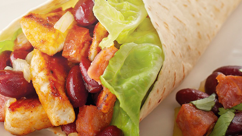 Chicken, Chorizo & Bean Burritos Recipe