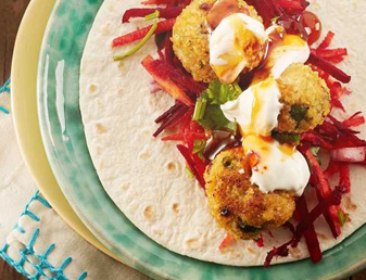 Crispy Chicken Balls & Rainbow Slaw Soft Tacos Recipe