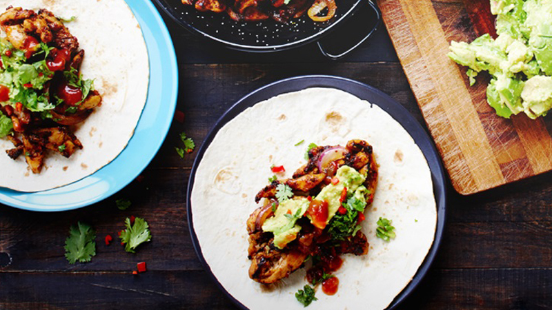 Easy Classic Chicken Fajitas with Smashed Avocado, Chilli & Coriander Salsa Recipe