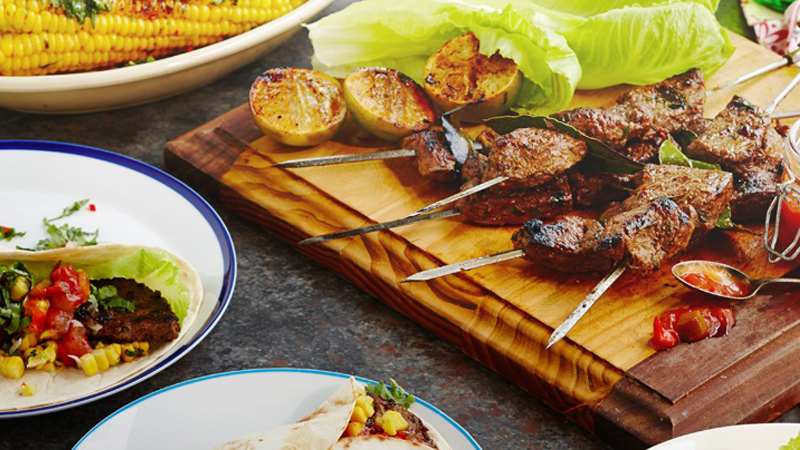 Fajitas with Marinated Beef Skewers & Char Grilled Chili Corn Recipe