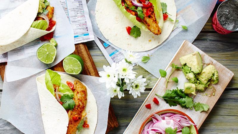 Fish Burritos with Smashed Avocado & Lime Recipe