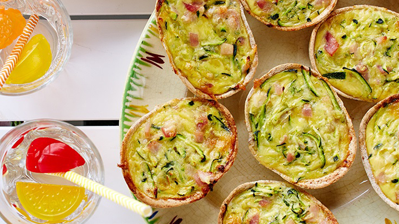 Mini Zucchini and Bacon Quiche Whole Grain Soft Tacos