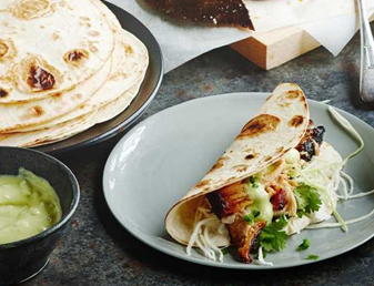 Pork Belly Soft Tacos with Crunchy Slaw & Spicy Avocado Dressing Recipe