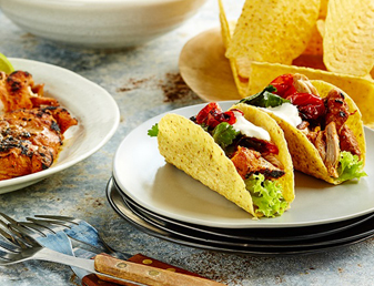 Shredded Chicken and Roasted Tomato Salsa Mini Tacos