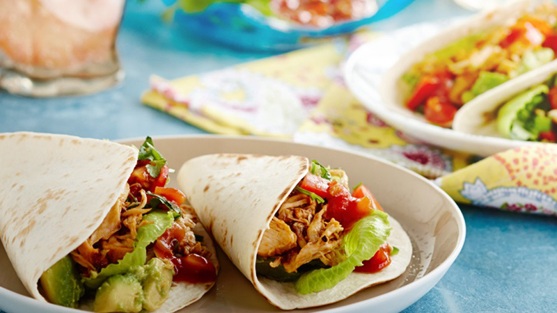 Shredded Chicken Soft Tacos with Fresh Tomato Salsa Recipe