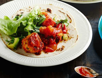 Soft Tacos with Chicken Albondigas and Fresh Green Salsa Recipe