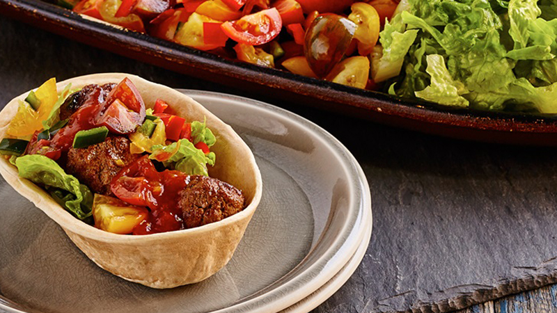 Stand 'N Stuff™ Soft Tacos with Smoky BBQ Meatballs and Tomato Salsa