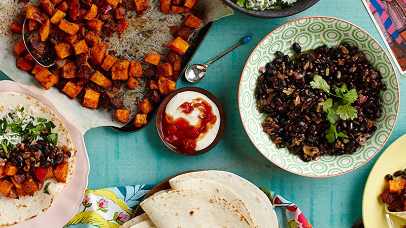 Sweet Potato and Chorizo Burritos with Mexican Black Bean Salsa Recipe